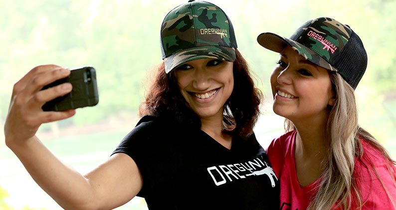 Oregunian Ladies V Neck Tee & Camo Truckers Hats