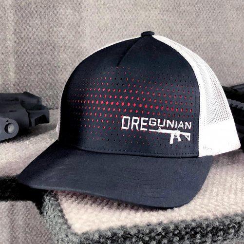 Oregunian® AR-15 Red White Blue Laser Cut Trucker Hat